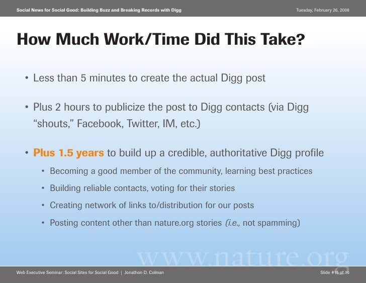 Social News for Social Good: Building Buzz and Breaking Records with Digg     Tuesday, February 26, 2008     How Much Work...