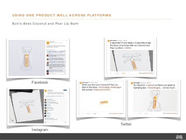 USING ONE PRODUCT WELL ACROSS PLATFORMS Burt's Bees Coconut and Pear Lip Balm Instagram Facebook Twitter