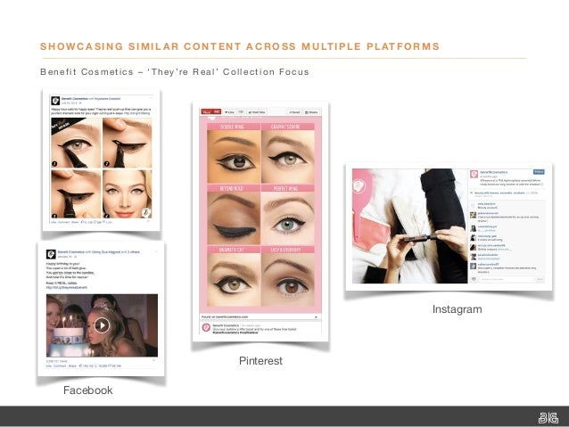 SHOWCASING SIMILAR CONTENT ACROSS MULTIPLE PLATFORMS Benefit Cosmetics–'They're Real' Collection Focus Facebook Pinteres...