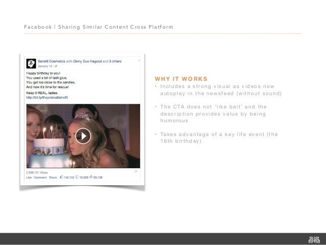 Facebook   Sharing Similar Content Cross Platfor m WHY IT WORKS • Includes a strong visual as videos now autoplay in the n...