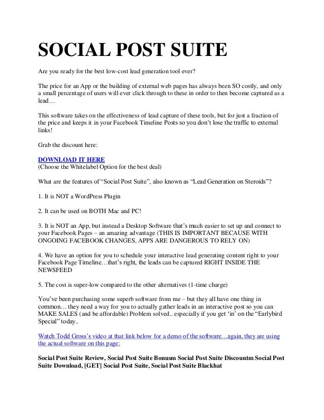 SOCIAL POST SUITE Are you ready for the best low-cost lead generation tool ever? The price for an App or the building of e...