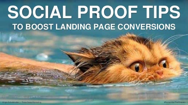SOCIAL PROOF TIPS  TO BOOST LANDING PAGE CONVERSIONS  #RememberTheCravens  Angie Schottmuller   Three Deep Marketing,
