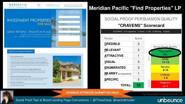 "Meridian Pacific ""Find Properties"" LP  SOCIAL PROOF PERSUASION QUALITY  ""CRAVENS"" Scorecard  SCORING: 3=Exceptional, 2=Goo..."