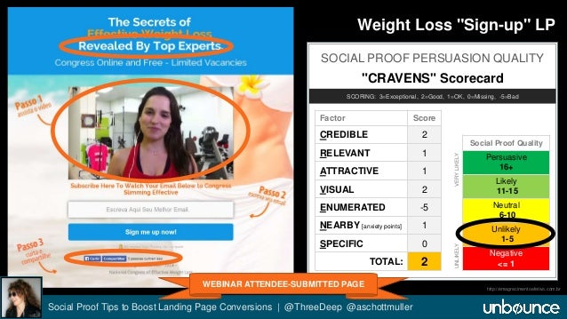 """Weight Loss """"Sign-up"""" LP  SOCIAL PROOF PERSUASION QUALITY  """"CRAVENS"""" Scorecard  SCORING: 3=Exceptional, 2=Good, 1=OK, 0=Mi..."""