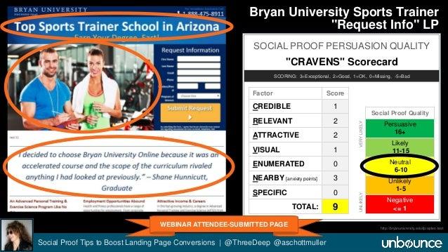 "Bryan University Sports Trainer  ""Request Info"" LP  SOCIAL PROOF PERSUASION QUALITY  ""CRAVENS"" Scorecard  SCORING: 3=Excep..."