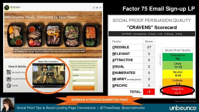"Factor 75 Email Sign-up LP  SOCIAL PROOF PERSUASION QUALITY  ""CRAVENS"" Scorecard  SCORING: 3=Exceptional, 2=Good, 1=OK, 0=..."