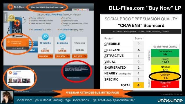 "DLL-Files.com ""Buy Now"" LP  SOCIAL PROOF PERSUASION QUALITY  ""CRAVENS"" Scorecard  SCORING: 3=Exceptional, 2=Good, 1=OK, 0=..."