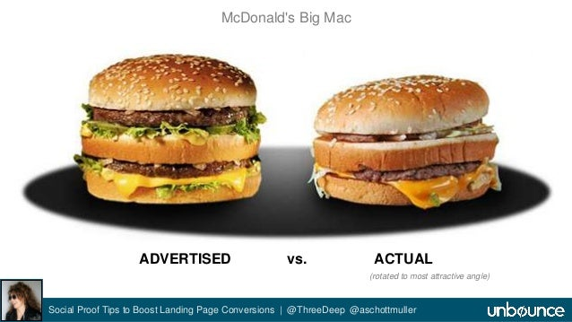 McDonald's Big Mac  ADVERTISED vs. ACTUAL  (rotated to most attractive angle)  Social Proof Tips to Boost Landing Page Con...