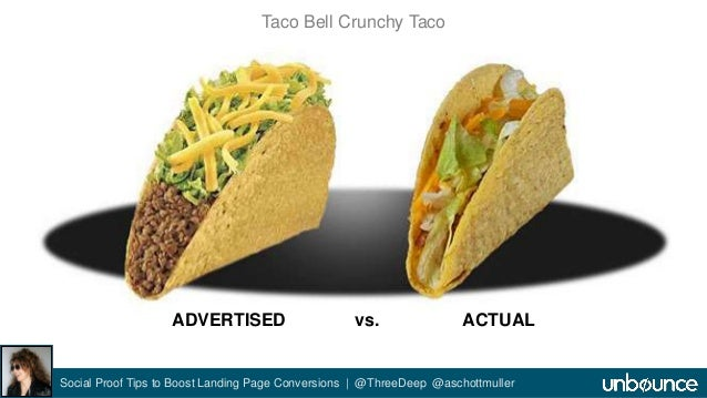 Taco Bell Crunchy Taco  ADVERTISED vs. ACTUAL  Social Proof Tips to Boost Landing Page Conversions | @ThreeDeep @aschottmu...