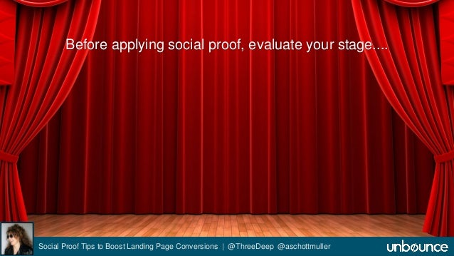 Before applying social proof, evaluate your stage....  Social Proof Tips to Boost Landing Page Conversions | @ThreeDeep @a...