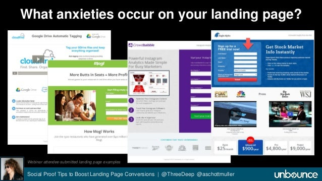 What anxieties occur on your landing page?  Webinar attendee-submitted landing page examples  Social Proof Tips to Boost L...