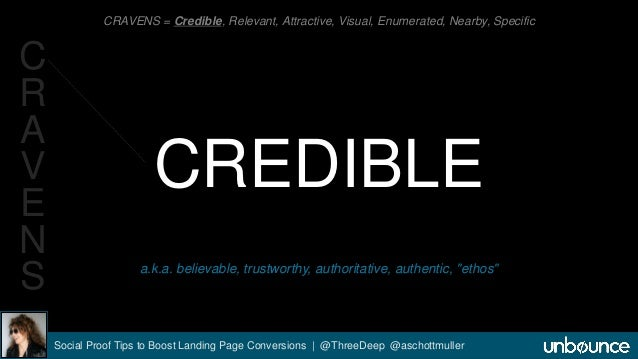 CRAVENS = Credible, Relevant, Attractive, Visual, Enumerated, Nearby, Specific  CREDIBLE  a.k.a. believable, trustworthy, ...