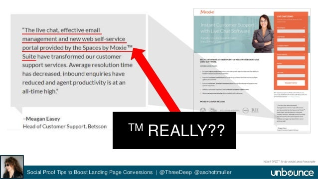 TM REALLY??  Social Proof Tips to Boost Landing Page Conversions | @ThreeDeep @aschottmuller  What *NOT* to do social proo...