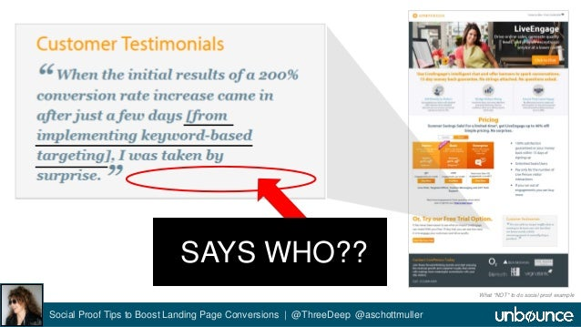 SAYS WHO??  Social Proof Tips to Boost Landing Page Conversions | @ThreeDeep @aschottmuller  What *NOT* to do social proof...