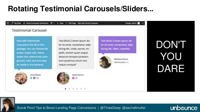 Rotating Testimonial Carousels/Sliders...  Social Proof Tips to Boost Landing Page Conversions | @ThreeDeep @aschottmuller...