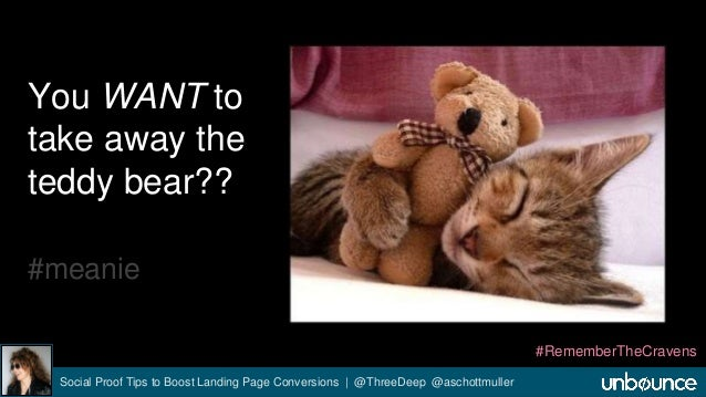 You WANT to  take away the  teddy bear??  #meanie  Social Proof Tips to Boost Landing Page Conversions | @ThreeDeep @ascho...