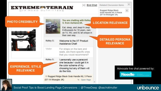 LOCATION RELEVANCE  DETAILED PERSONA  RELEVANCE  PHOTO CREDIBILITY  Advocate live chat powered by:  Social Proof Tips to B...