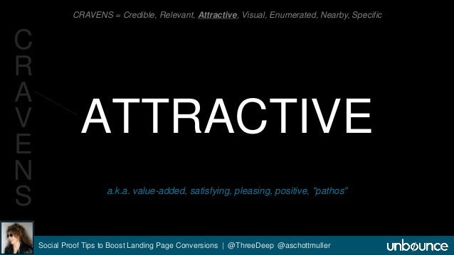 CRAVENS = Credible, Relevant, Attractive, Visual, Enumerated, Nearby, Specific  ATTRACTIVE  a.k.a. value-added, satisfying...