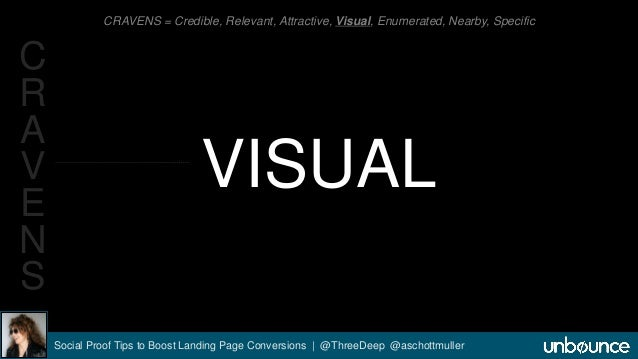 CRAVENS = Credible, Relevant, Attractive, Visual, Enumerated, Nearby, Specific  VISUAL  Social Proof Tips to Boost Landing...