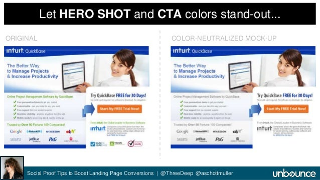 Let HERO SHOT and CTA colors stand-out...  ORIGINAL COLOR-NEUTRALIZED MOCK-UP  Social Proof Tips to Boost Landing Page Con...