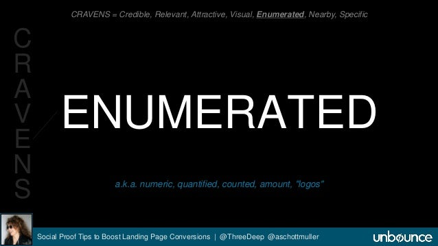 CRAVENS = Credible, Relevant, Attractive, Visual, Enumerated, Nearby, Specific  ENUMERATED  a.k.a. numeric, quantified, co...