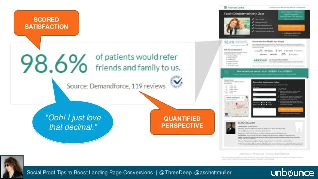 """SCORED  SATISFACTION  QUANTIFIED  PERSPECTIVE  """"Ooh! I just love  that decimal.""""  Social Proof Tips to Boost Landing Page ..."""
