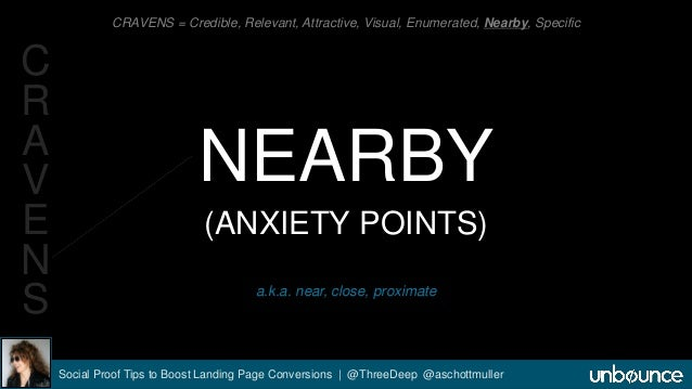 CRAVENS = Credible, Relevant, Attractive, Visual, Enumerated, Nearby, Specific  NEARBY  (ANXIETY POINTS)  a.k.a. near, clo...