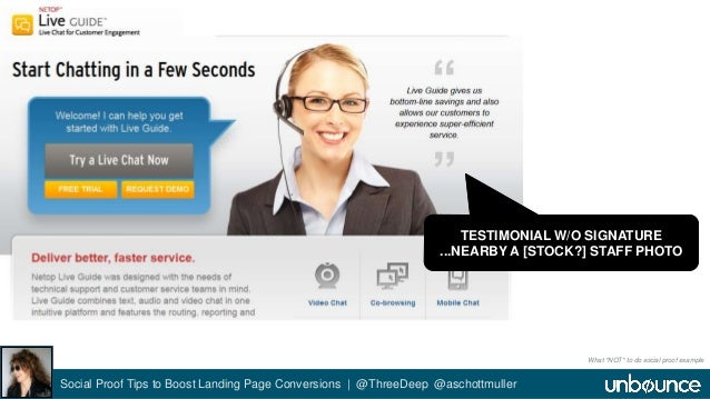 TESTIMONIAL W/O SIGNATURE  ...NEARBY A [STOCK?] STAFF PHOTO  Social Proof Tips to Boost Landing Page Conversions | @ThreeD...