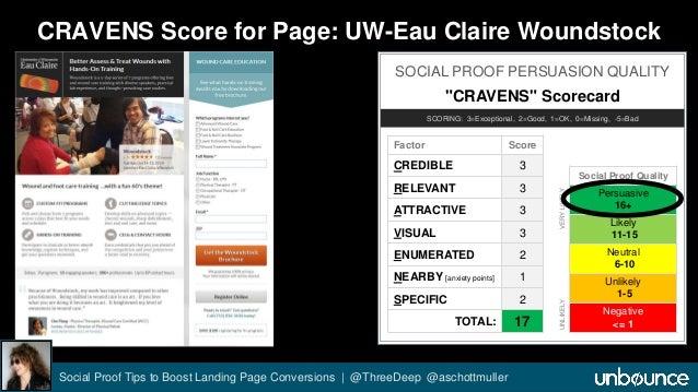 """CRAVENS Score for Page: UW-Eau Claire Woundstock  SOCIAL PROOF PERSUASION QUALITY  """"CRAVENS"""" Scorecard  SCORING: 3=Excepti..."""