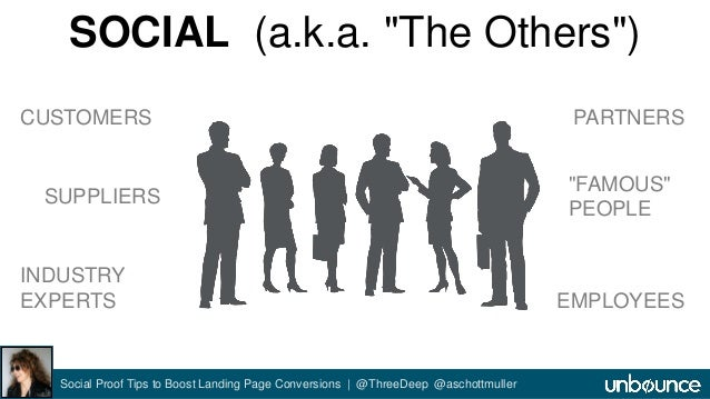 """SOCIAL (a.k.a. """"The Others"""")  CUSTOMERS  SUPPLIERS  Social Proof Tips to Boost Landing Page Conversions 