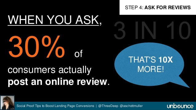 WHEN YOU ASK,  of  consumers actually  post an online review.  STEP 4: ASK FOR REVIEWS  THAT'S 10X  MORE!  Social Proof Ti...