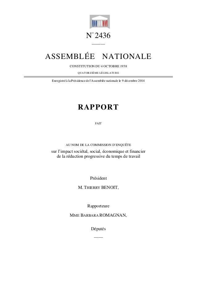 N° 2436 ______ ASSEMBLÉE NATIONALE CONSTITUTION DU 4 OCTOBRE 1958 QUATORZIÈME LÉGISLATURE Enregistré à la Présidence de l'...