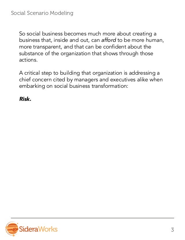 Social Scenario Modeling - A Process For Uncovering and Managing Risk in Social Business Slide 3