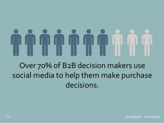 @LisaMasiello #SocialSelling Over 70% of B2B decision makers use social media to help them make purchase decisions. *Dell