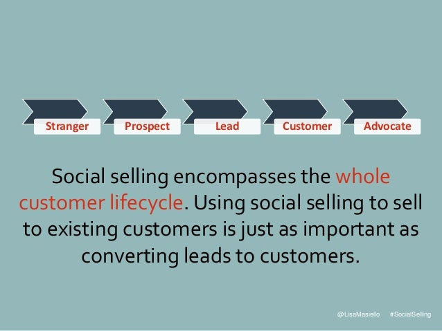 @LisaMasiello #SocialSelling Stranger Prospect Lead Customer Advocate Social selling encompasses the whole customer lifecy...
