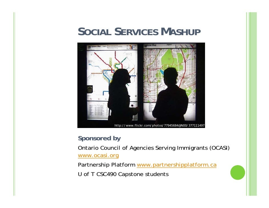 SOCIAL SERVICES MASHUP                  http://www.flickr.com/photos/77945684@N00/377111497              /  Sponsored by O...