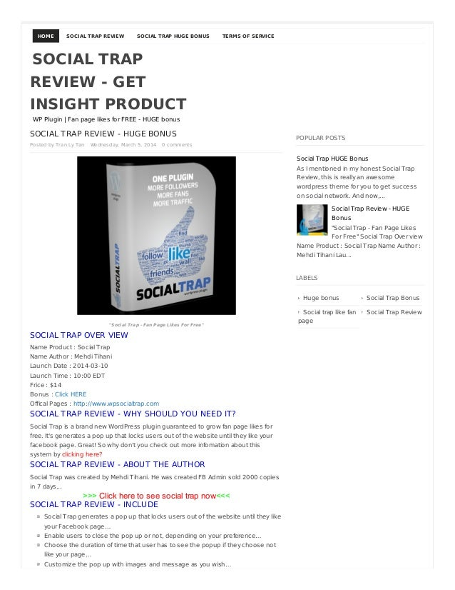 HOME  SOCIAL TRAP REVIEW  SOCIAL TRAP HUGE BONUS  TERMS OF SERVICE  SOCIAL TRAP REVIEW - GET INSIGHT PRODUCT WP Plugin | F...