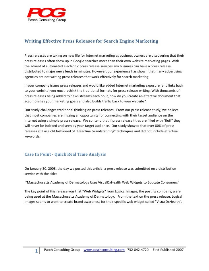 Writing Effective Press Releases for Search Engine Marketing      Press releases are taking on new life for Intern...