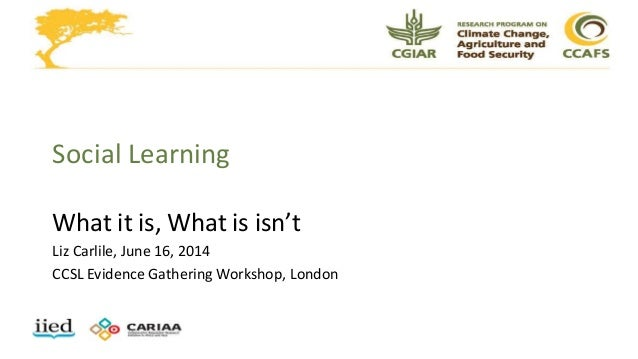 Social Learning What it is, What is isn't Liz Carlile, June 16, 2014 CCSL Evidence Gathering Workshop, London