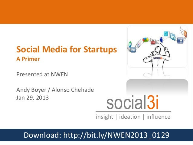 Social Media for Startups      A Primer      Presented at NWEN      Andy Boyer / Alonso Chehade      Jan 29, 2013         ...