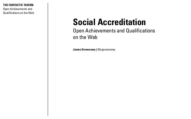 THE FANTASTIC TAVERNOpen Achievements andQualifications on the Web                            Social Accreditation        ...