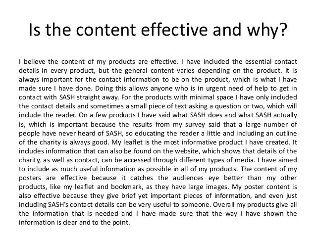 Is the content effective and why? I believe the content of my products are effective. I have included the essential contac...