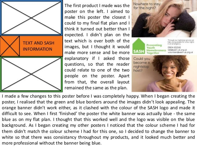 TEXT AND SASH INFORMATION  The first product I made was the poster on the left. I aimed to make this poster the closest I ...