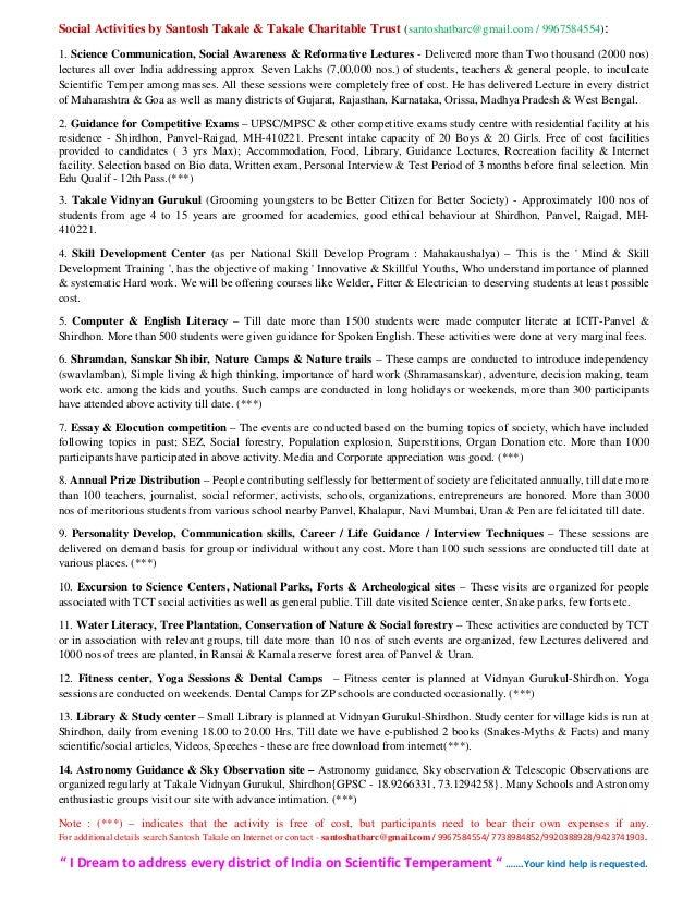 Social Activities by Santosh Takale & Takale Charitable Trust (santoshatbarc@gmail.com / 9967584554): 1. Science Communica...