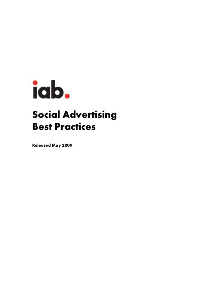 Social AdvertisingBest PracticesReleased May 2009