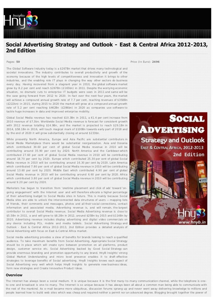 Social Advertising Strategy and Outlook - East & Central Africa 2012-2013,2nd EditionPages: 50                            ...