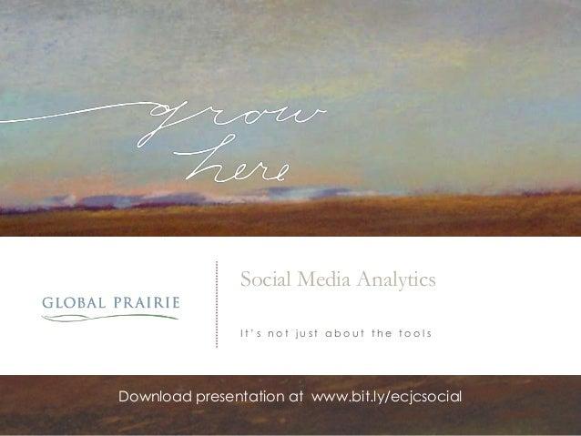 Social Media Analytics I t ' s n o t j u s t a b o u t t h e t o o l s Download presentation at www.bit.ly/ecjcsocial