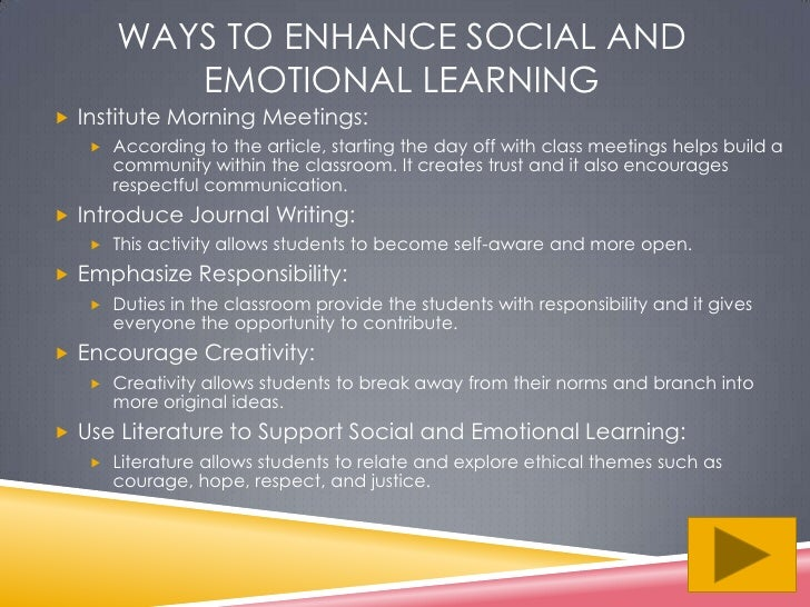 Social Emotional Learning Helps >> Social and emotional learning