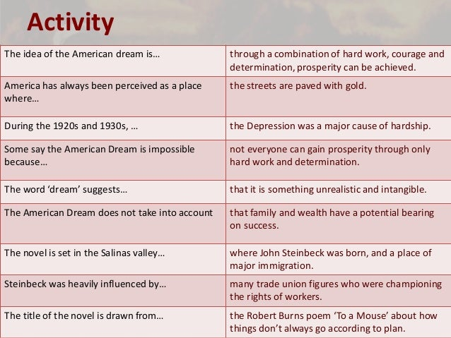 impossibility of the american dream through steinbeck Of mice and men - context some say the american dream is impossible because not everyone can gain prosperity through only hard work and determination.