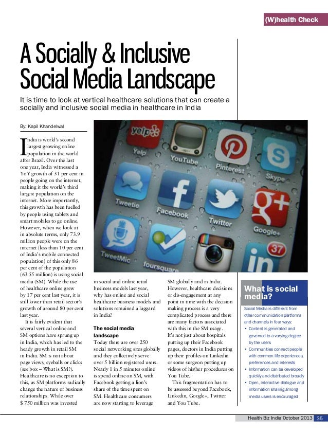Health Biz India October 2013 35 A Socially & Inclusive Social Media Landscape By: Kapil Khandelwal I ndia is world's seco...